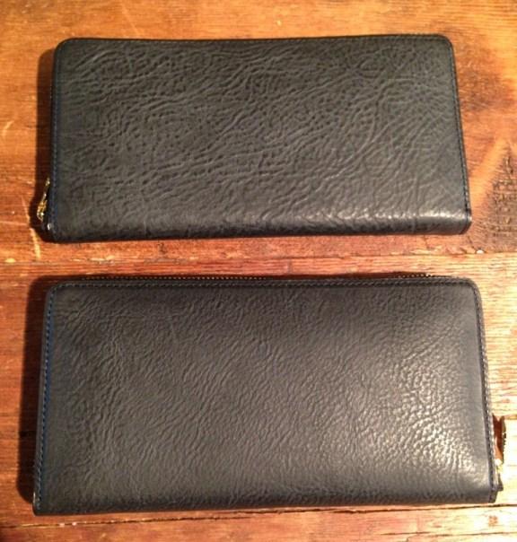 アヤメアンティーコ(AYAME ANTICO)・ミネルバボックスを使用した財布、シボが多いのと少ないの