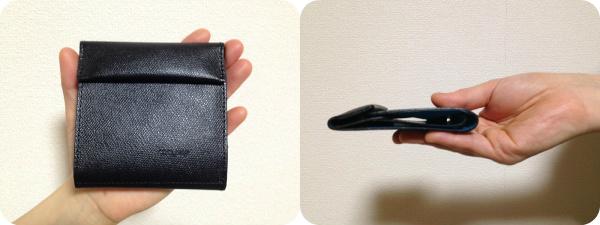 薄い財布 abrAsusを手に持ったところ