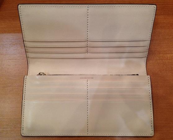 ココマイスター「コードバン 薄型長財布」の内装