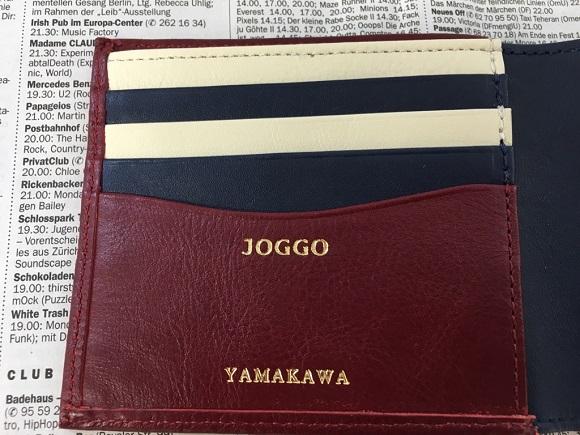 joggoの財布の名入れ部分