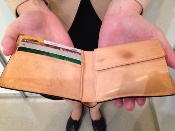 ココマイスター・社員の財布「マットーネマルチパース」の内装部分