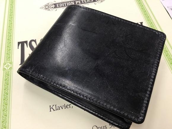 【GLEN HERITAGE】ブライドルレザー二つ折り財布の銀面