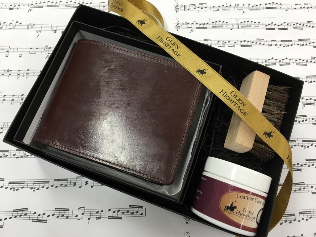 【GLEN HERITAGE】ブライドルレザー二つ折り財布のケアワックス付き