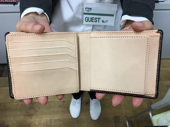 GLENCHECK(グレンチェック)ブライドルレザー二つ折り財布の内装