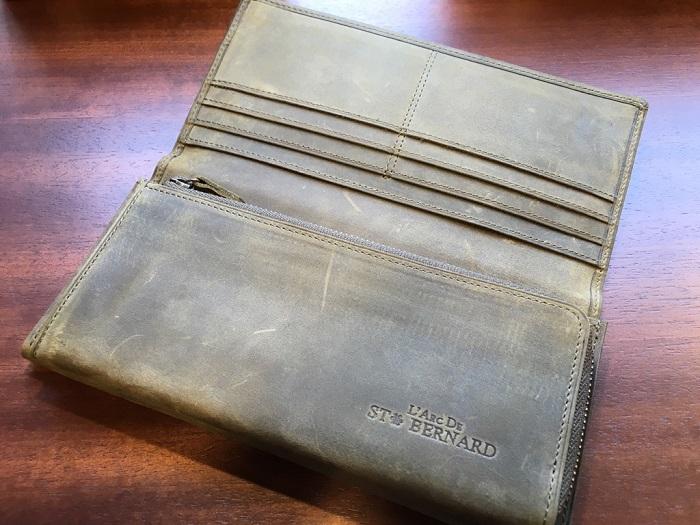 ココマイスターの長財布・ナポレオンカーフアレッジドウォレット(オリーブ)の内装