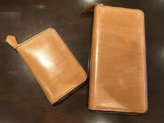 オークバークブリストル(ココマイスターの長財布)とオークバークパッチウェイ(ココマイスターの小銭入れ)