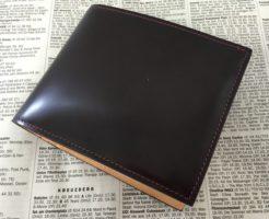 グレンチェック・コードバン二つ折り財布