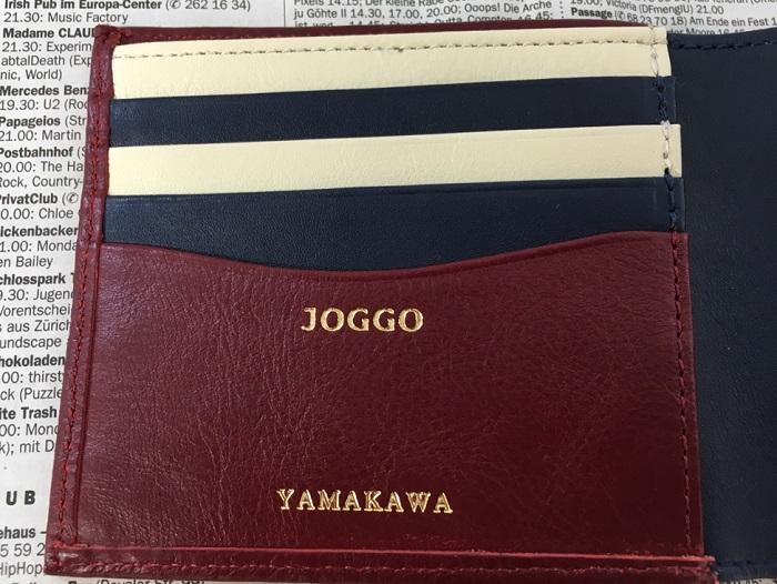 JOGGO・二つ折り財布の名入れ部分