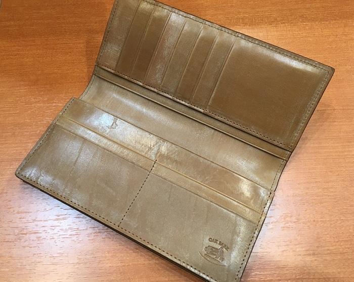 ココマイスターの長財布・オークバーク ウェスターリーの内装