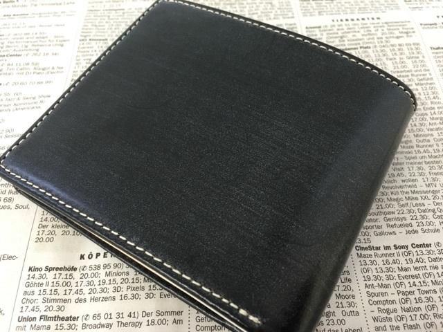 グレンチェック・ブライドルレザー二つ折り財布