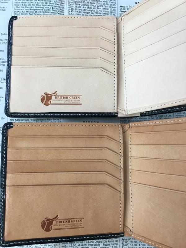 グレンチェック・ブライドルレザー二つ折り財布のヌメ革