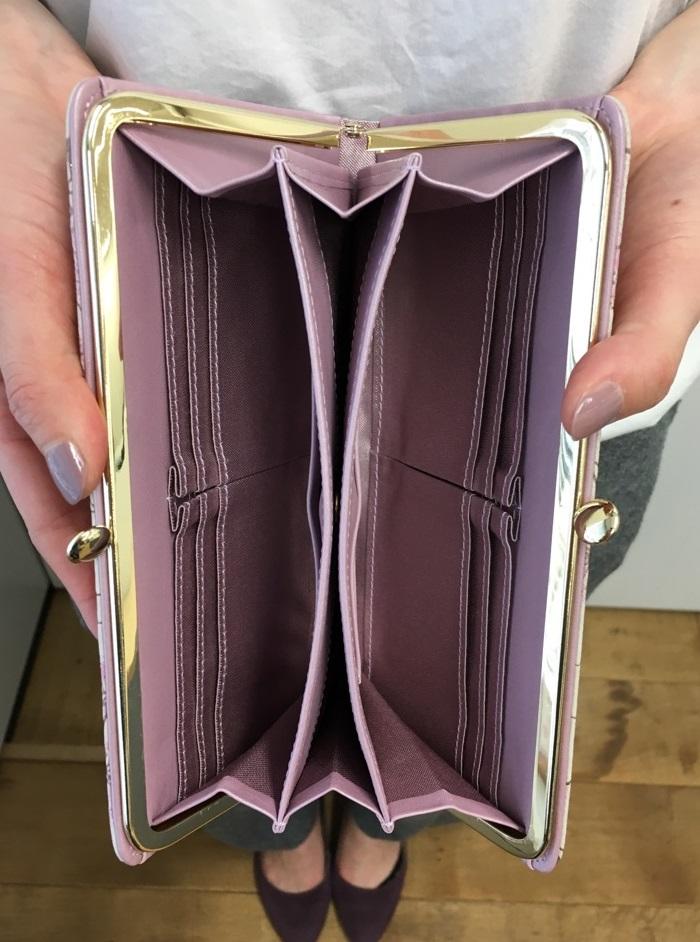 AETHER(エーテル)の財布・カウスエード がま口長財布 サクラ・アネット