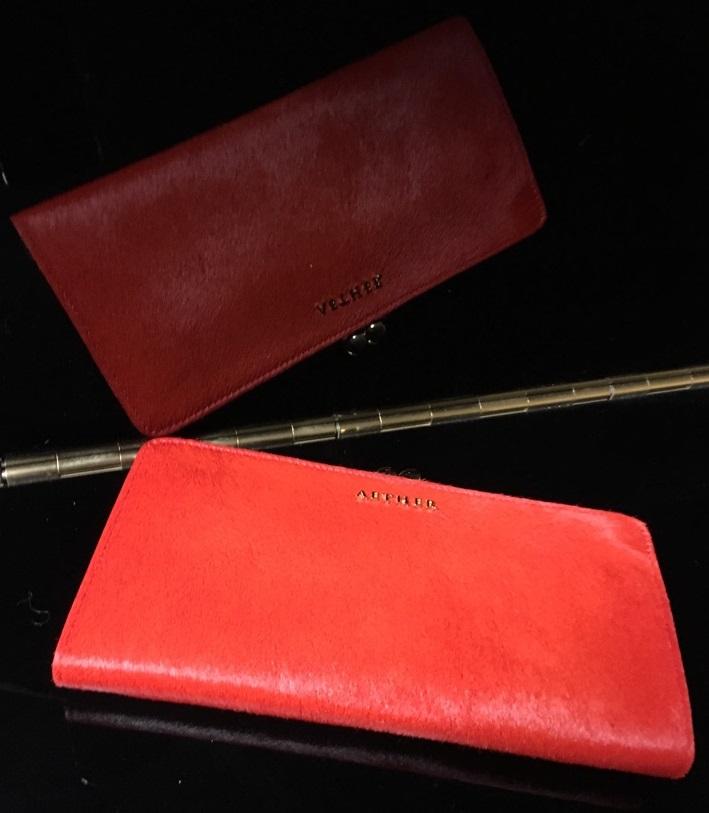 エーテル・AETHERの財布、本革ハラコがま口長財布 ルージュ・アネット