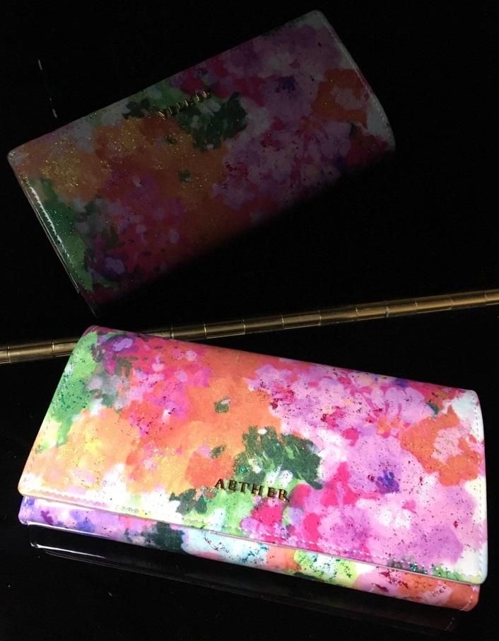 エーテル・AETHERの財布、エナメル本革二つ折り長財布 フルール・ジャルダン