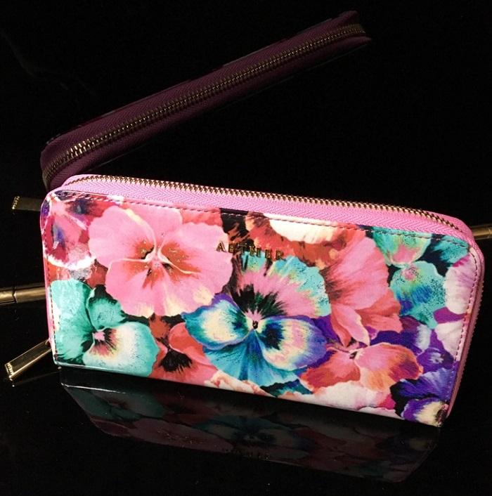 エーテル・AETHERの財布、ラムエナメルレザーラウンドファスナー長財布 パンセ・ブーケ