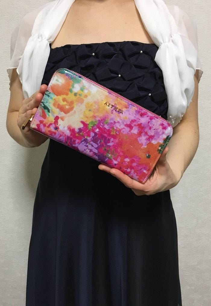 エーテル・AETHERの財布、ラムエナメルレザーラウンド長財布 フルール・ブーケ