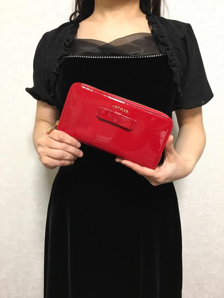 エーテル・AETHERの財布、ゴートエナメル・ロングウォレット リュバン・ブーケ
