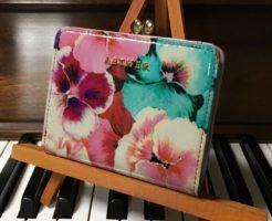 エーテル・AETHERの財布、ラムエナメルレザー二つ折り財布 パンセ・オデット