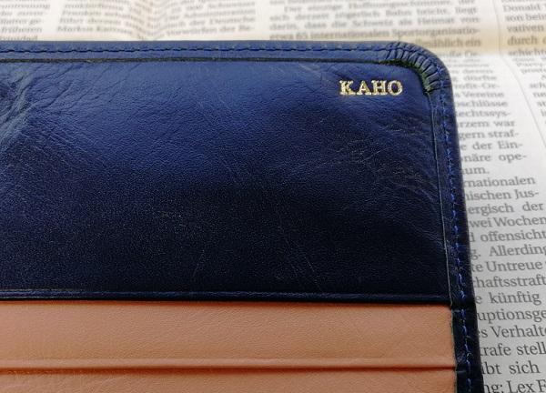 JOGGOのレディースバイカラ―長財布の名入れ部分