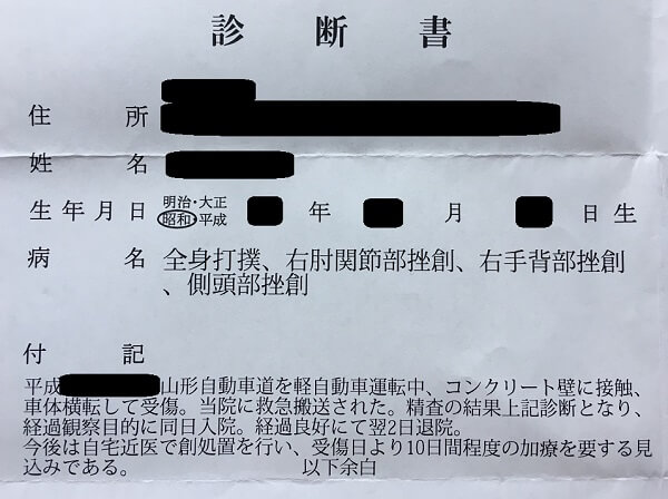交通事故の診断書