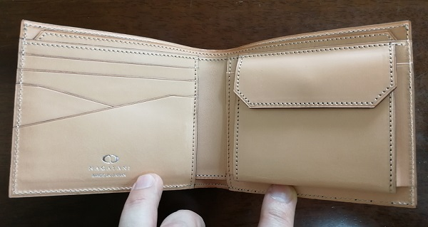 NAGATANI(ナガタニ)のメンズ財布WSTOの内装(ヌメ革)