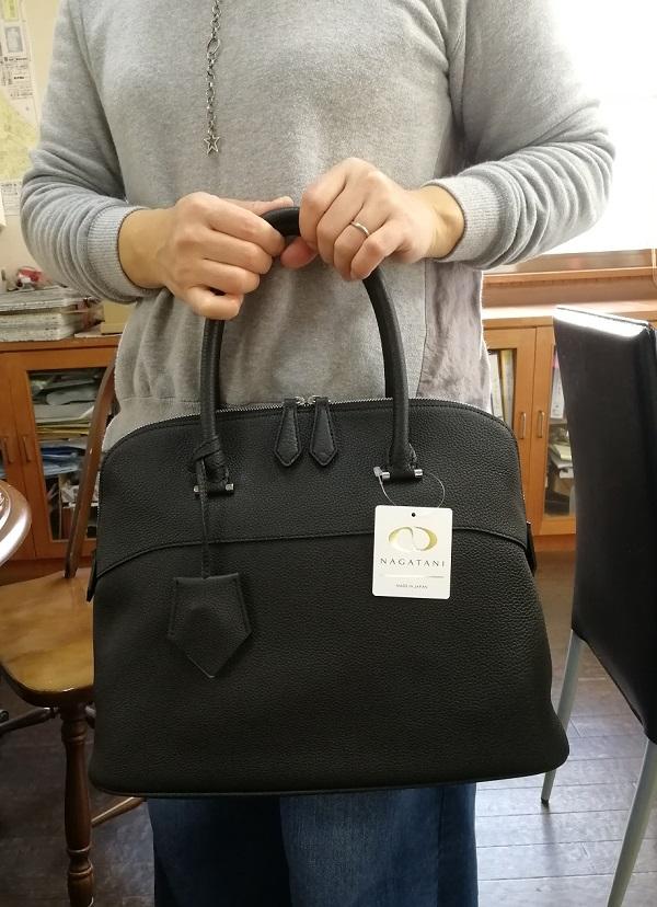 NAGATANI(ナガタニ)のレディースハンドバッグ・EMMA BLACK シュリンクレザーハンドバッグ