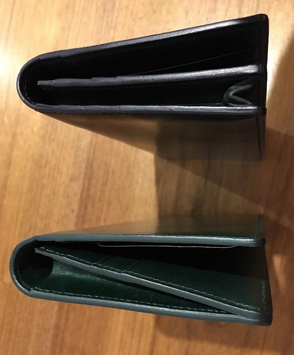 ココマイスターの長財布、プルキャラックロンバルディアとプルキャラックカラブリア、通しマチかササマチか