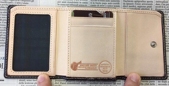 グレンチェック(GLENCHECK)のブライドルレザー胸ポケット財布(三つ折り財布)の内装
