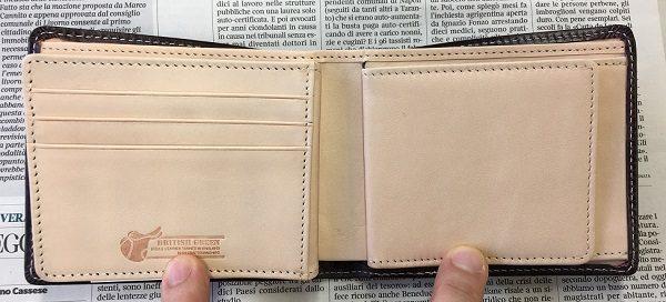 グレンチェック(GLENCHECK)のブライドルレザー二つ折り財布の内装