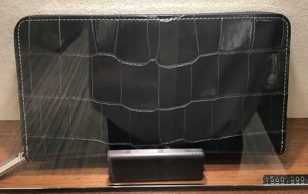 ココマイスターのクロコダイルシリーズの長財布【クロコダイルパーシモン】