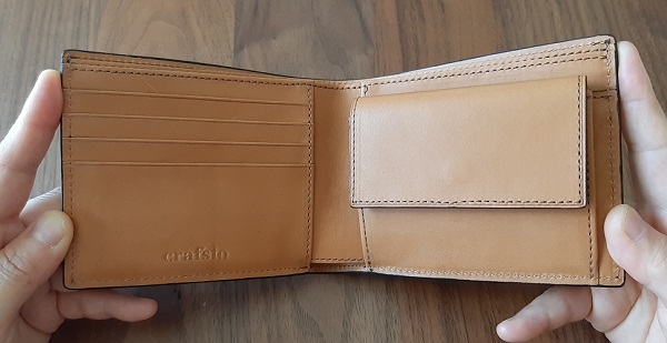 crafsto(クラフスト)の財布『ブライドルレザー 二つ折り財布』の内装