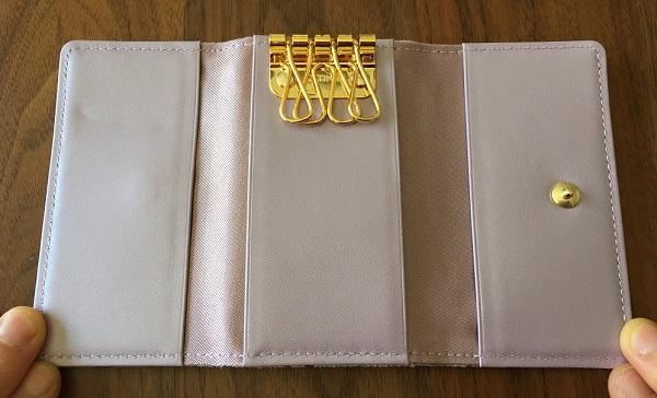 エーテルのキーケース、スプリットメタリックレザー『リュミエール』キーケースのキー金具