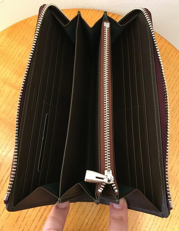 ココマイスターの長財布、ベテルギウスバイエルウォレットの内装
